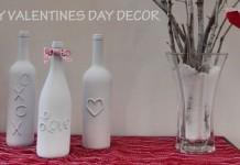 DIY Valentine Wine Bottle Decor