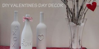 DIY Valentine Wine Bottle Decor