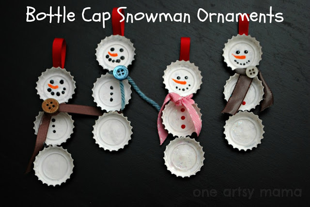 Bottle cap snowman ornaments