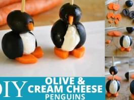 DIY Cream Cheese Olive Penguins